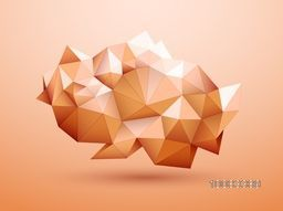Creative glossy low-poly geometric shape or element, Stylish shiny abstract background.