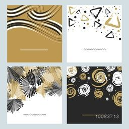 Set of creative hand drawn textures, Beautiful artistic background with wavy lines, triangles, geometric elements and spirals. Collection of four different abstract patterns.
