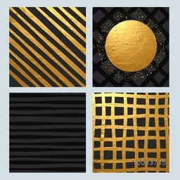 Set of four creative abstract background with golden stripes or textures.