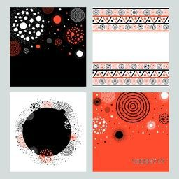 Set of four creative abstract background or texture with stylish geometric elements and floral design.