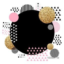 Creative abstract background with geometric elements and golden texture.