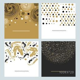 Set of four different hand drawn textures and brushes. Artistic collection of abstract elements as dots, triangles, brush strokes, paint dabs, spirals. Creative backgrounds.