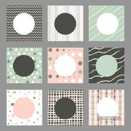 Set of nine abstract pattern with space for your text, Creative different background with geometric elements.