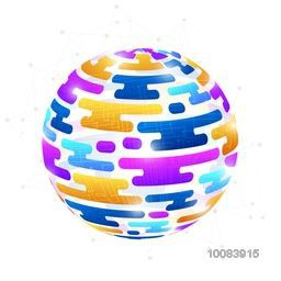 Creative high-technology background with abstract colorful globe for global network connection.
