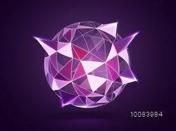 Spherical shape from Triangles. Abstract Geometrical glossy Sphere. Vector Geometric Illustration.