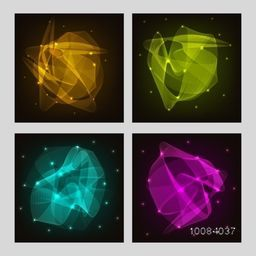 Set of four cards with hi-tech moving geometric elements, Creative different abstract background set.