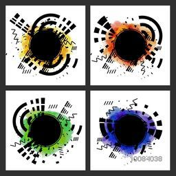 Set of four Greeting Cards or Invitation Cards with Abstract design and color splash.