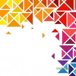 Creative abstract geometric pattern with colorful triangles on white background.