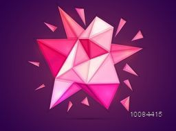 Creative abstract polygonal background, 3D low poly geometric pattern on purple background.