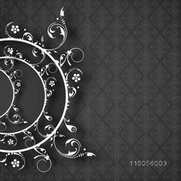 Abstract design of half circle on floral decorated background.