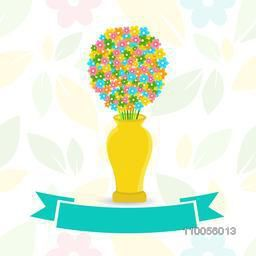 Colourful abstract flowers in yellow vase with green ribbon on stylish background.