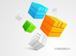 Abstract design of colourful shiny blocks on grey background.