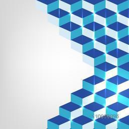 Abstract design of shiny blue blocks from right side on stylish background.