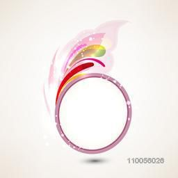 Rounded shiny frame with floral abstract design on light beige background.
