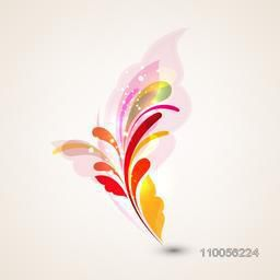 Colourful floral abstract design on beige background.