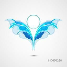 Abstract design of butterfly shape in shiny blue color.