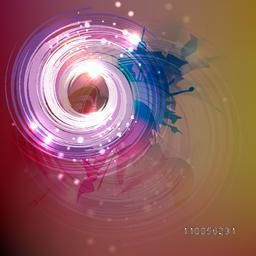 Abstract design of colourful sparkling swirl with its shadow on stylish background.