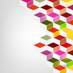 Abstract design of colourful blocks from right side.