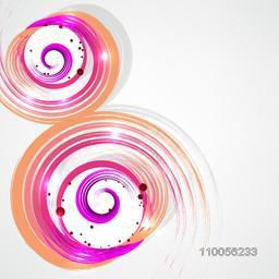 Abstract design of colourful sparkling swirl with its shadow.