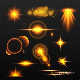 Set of golden bokeh lights trails, Shining stars, Sparkling sunburst with flashes and lens flare effects.