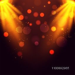Abstract bokeh background with glowing spotlights.