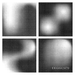 Set of four different halftone dot texture backgrounds.
