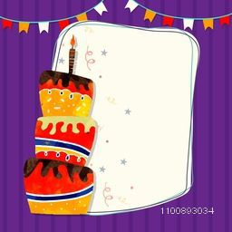 Hand drawn colorful big Cake with candle on buntings decorated background. Happy Birthday greeting or invitation card design with space for your wishes.