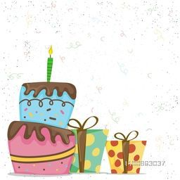 Hand drawn doodle style illustration of Colorful Cake with Wrapped Gift Boxes on confetti background.