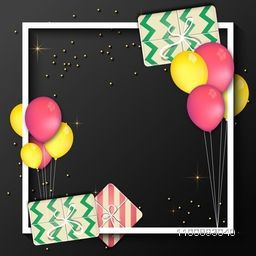 Flying Balloons and Gifts decorated frame with space for your message, Holiday celebrations background. Can be used as greeting and invitation card design.