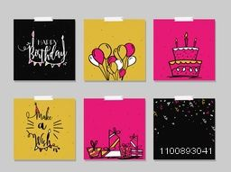 Happy Birthday and Party celebrations, Hand drawn doodle style greetings or invitation cards set decorated with balloons, cake, stylish typography and confetti.