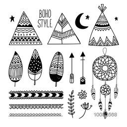 Set of stylish hand drawn Elements, Creative Boho style Elements including Ethnic Teepee or Wigwam, Detailed Feathers, Arrows, Divider, Flower and Dream Catcher.