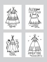 Creative cards set with hand drawn ornamental wigwam or teepee, Boho Style illustration with different typographic collection.