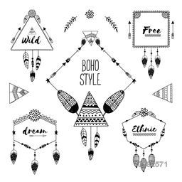 Set of creative boho style frames with ethnic hand drawn elements like feathers, flowers and arrows.