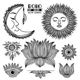 Creative ethnic set with ornamental Moon, Sun, Arrows with Flower, Lotus and Eye, Hand drawn boho style illustration, Stylish hippie design elements.