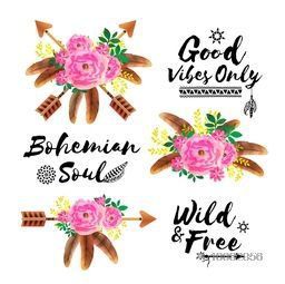 Boho style watercolor flowers with arrows, feathers and typographic set, Creative ethnic elements, Stylish Hand drawn illustration.