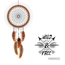 Creative boho style Dream Catcher with glossy feathers, Beautiful hand drawn illustration with ethnic elements.