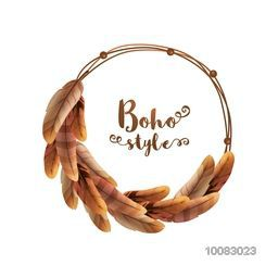 Glossy ethnic feathers decorated frame with space for your text, Creative illustration in boho style.
