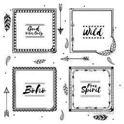 Set of creative Boho Style Frames with feathers and arrows, Hand Drawn ornamental elements collection.
