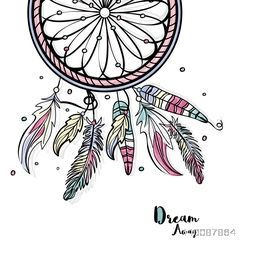 Boho Style Dream Catcher with ethnic feathers, Creative hand drawn illustration.