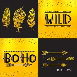 Boho Style Card, Poster, Banner or Flyer design with hand drawn lettering, golden ethnic feathers and arrows.