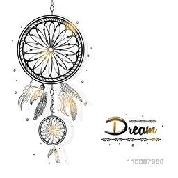 Shiny Boho Style Dream Catcher with ethnic feathers, Creative hand drawn illustration.