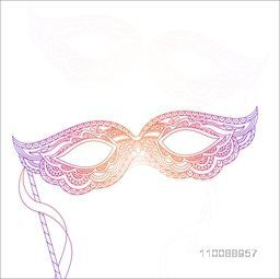 Colorful Carnival Masquerade Mask in Doodle Style.