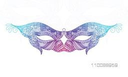 Colorful Carnival Masquerade Party Mask in Doodle Style.