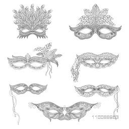 Set of Carnival Masquerade  Mask in Doodle Style.