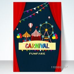 Carnival background with ferris wheel, circus tent, and marquee lights.