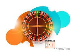 Welcome to Casino Poster, Banner or Flyer design with roulette wheel.