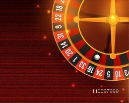 Shiny Casino Roulette Wheel on stylish background.