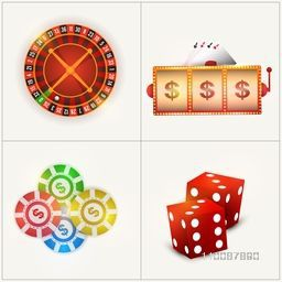 Set of Casino objects including Roulette Wheel, Slot Machine, Poker Chips and Dices.