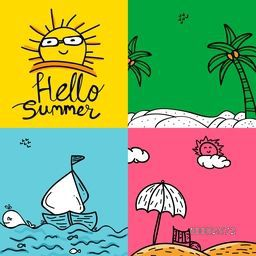 Summer Cards set, Colorful Summer Posters, Hand Drawn Summer Doodles, Summer Background, Creative illustration with sun, beach, palm trees, boat and umbrella.