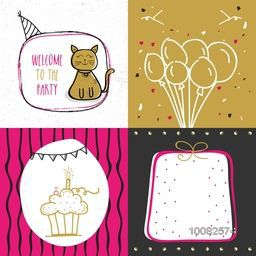 Set of creative hand drawn Party Cards, Four Party Doodle Pattern, Stylish different Party Background with cute cat, balloons, sweet cake with candle and wrapped gift.